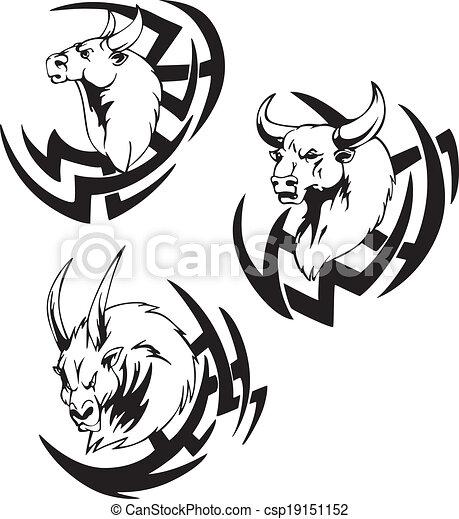 Tatouage t te taureau t te vecteur noir taureau blanc tattoo illustrations - Dessin tete taureau ...