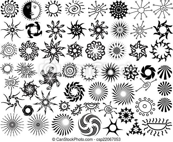Tatouage tribal collection flamme soleil conception clipart vectoriel rechercher - Tatouage soleil tribal ...
