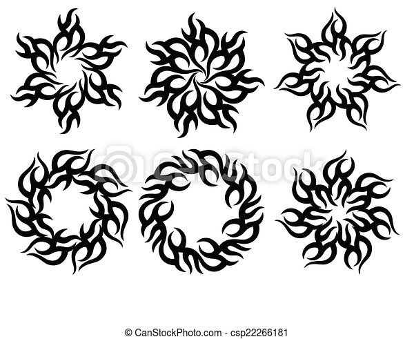 tatouage tribal flamme soleil conception tatouage art tribal vecteur flamme soleil. Black Bedroom Furniture Sets. Home Design Ideas
