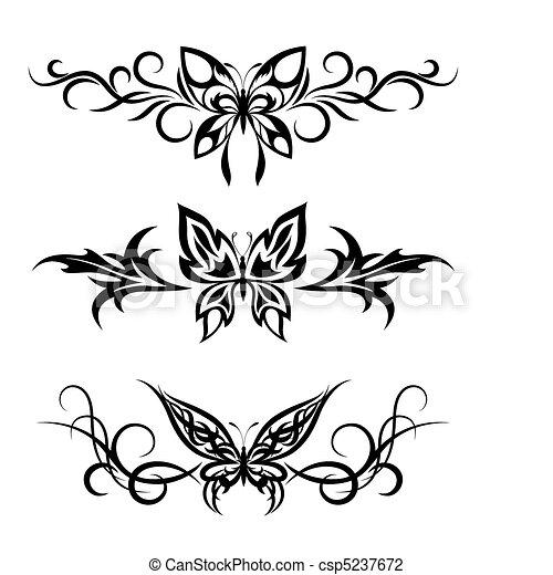 Tatouage Tribal Papillons Ensemble Tatouages Papillons Ensemble Noir Blanc Canstock