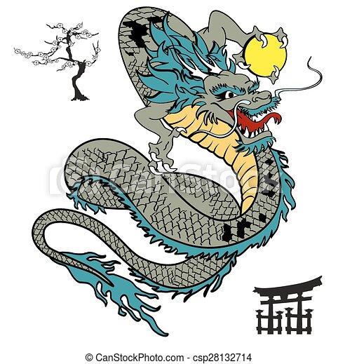 Tatouage tshirt9 japonaise dragon tatouage format japonaise dragon tshirt vecteur - Dragon japonais dessin ...
