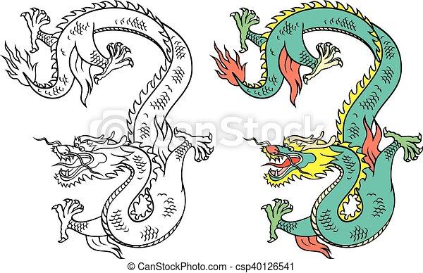Tatouage Vecteur Dragon Chinois Tatouage Vecteur Chinois