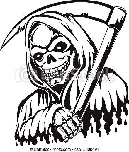tatouage, vendange, reaper, scythe avoirs, sinistre, engraving. - csp15808491