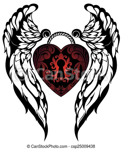 Tatouage ange tatouage amour vecteurs - Clipart amour ...