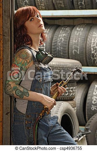 tatouages, soudeur, femme - csp4936755