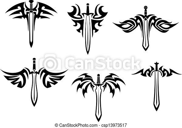 tatouages, tribal, épées, poignards, conception.