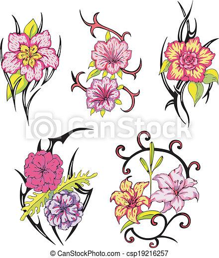 Tatouages tribal fleur ensemble rose tribal divers vecteur tattoos fleur illustrations - Tattoo tribal fleur ...
