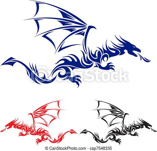 tatovering, dragon., asiat - csp7548335