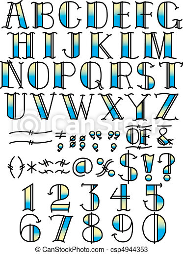 Tattoo Alphabet And Symbols Blue Tattoo Letters Or Alphabet And