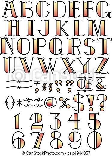 Tattoo Alphabet And Symbols Red