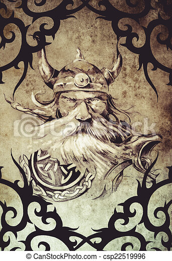 tattoo art design viking warrior decorated with tribal stock illustration search vector. Black Bedroom Furniture Sets. Home Design Ideas