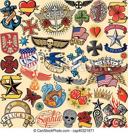 tattoo colection seamless pattern - csp40321871