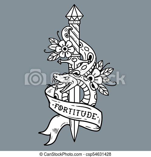 Tattoo dagger, snake, ribbon. Lettering Fortitude. - csp54631428