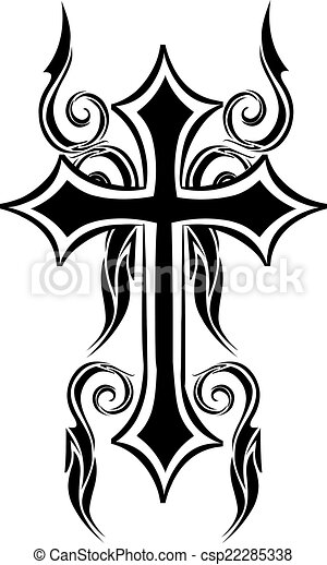 Tattoo design of christian cross, vintage engraving. - csp22285338