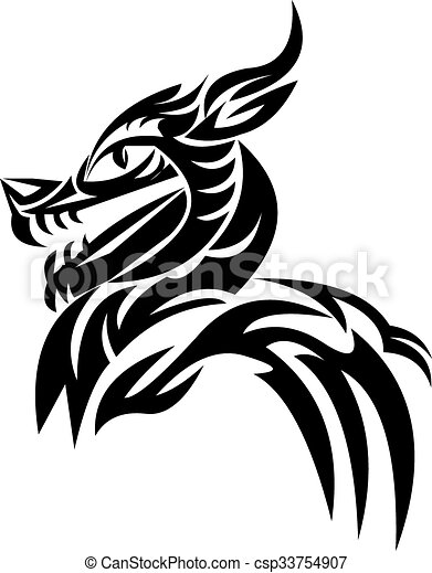 Tattoo design of dragon head, vintage engraving. - csp33754907