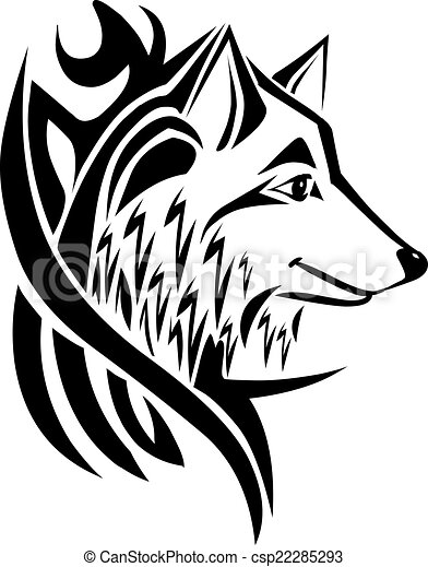 Tattoo design wolf head, vintage engraving. - csp22285293