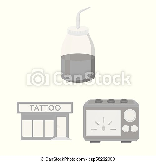 Tattoo, drawing on the body monochrome icons in set collection for design. Tattoo salon and equipment vector symbol stock web illustration. - csp58232000