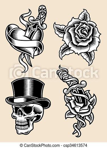 Tattoo Flash Vector Illustration - csp34613574