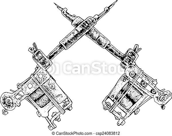 tattoo guns black and white illustration rh canstockphoto com Tattoo Machine Clip Art tattoo gun clipart black and white