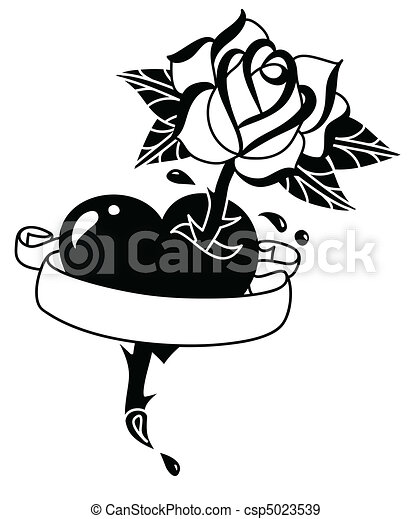 Tattoo Heart Rose And Banner Hand Drawn Tattoo Style Heart With Rose And Banner