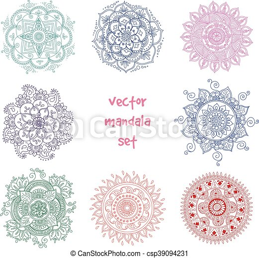 Tattoo Henna Mandala Set Vector Set Of Abstract Tattoo Henna