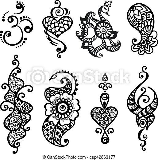 Tattoo Henna Mandala Set Vector Set Of Abstract Tattoo Isolated
