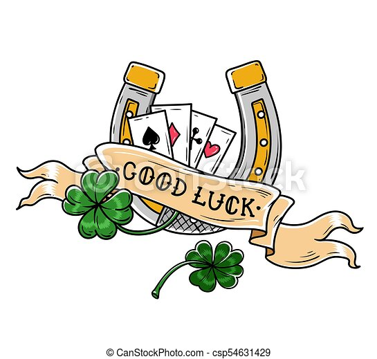 Tattoo Horseshoe Four Leaf Clover And Playing Cards Good Luck