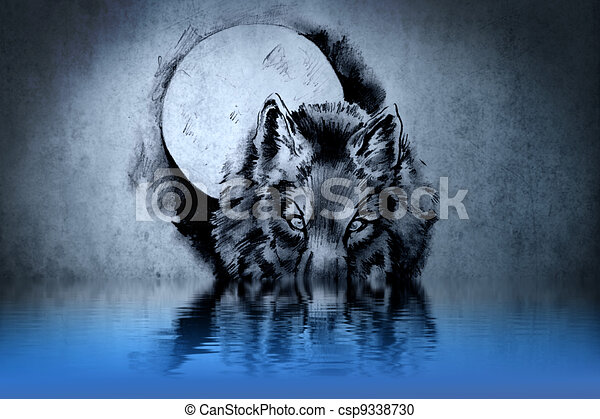 Tattoo of a wolf's head with water reflections - csp9338730