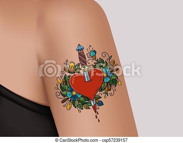 Tattoo On Shoulder Broken Heart Heart Pierced With Dagger Symbol