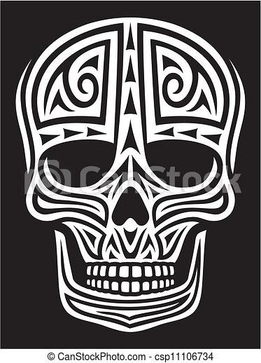 Decorado de cráneo (Tatuaje de zorrillo) - csp11106734