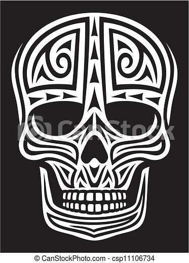 tattoo), ornamento, (skull, cranio - csp11106734