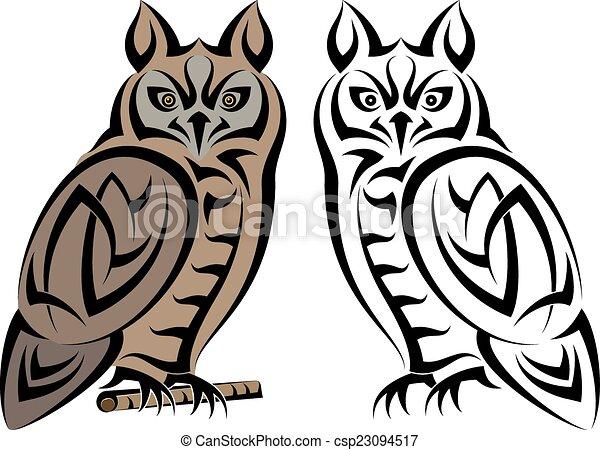 Tattoo Owl Design - csp23094517