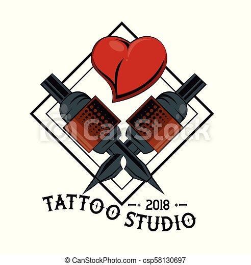 Tattoo studio design. Old school tattoo machine drawing design ...