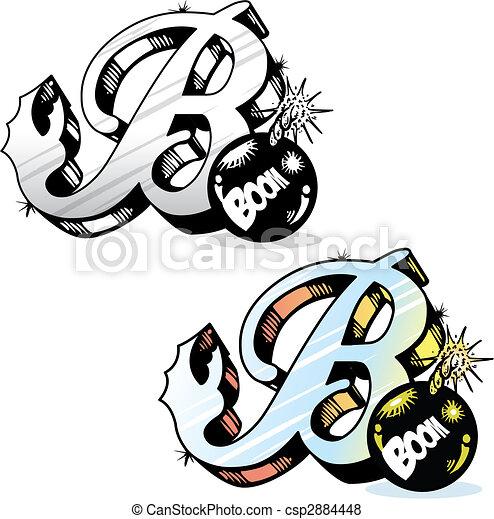 Tattoo style letter B with relevant symbols incorporated - csp2884448