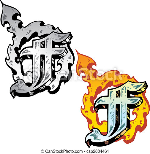 Tattoo Style Letter F With Relevant Symbols Incorporated Hand Drawn