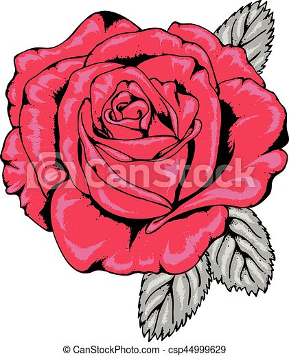 Tattoo Style Red Rose With Black Outlines Contemporary Hand Drawn