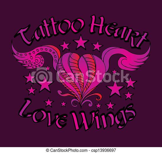 tattoo tribal heart vector art - csp13936697