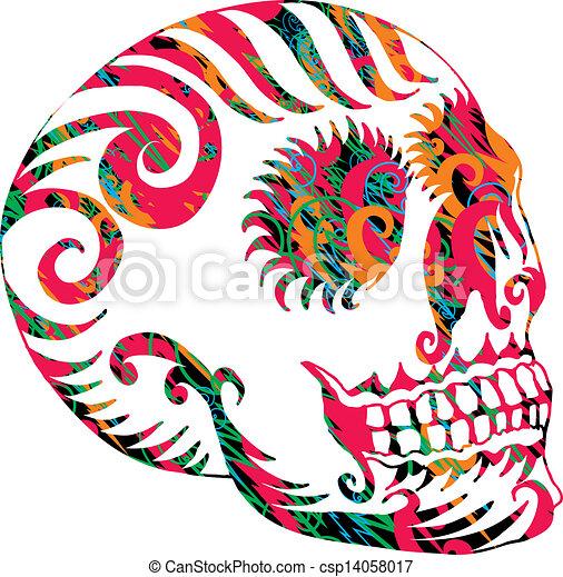 tattoo tribal mexican skull vector art - csp14058017