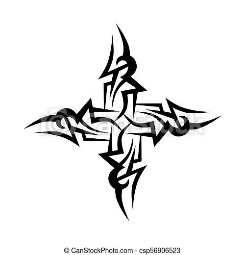 Tattoo Tribal Vector Design Sketch Cross Art Decorative Black Ornament Simple Logo On White Background Designer Isolated Abstract Element For Arm