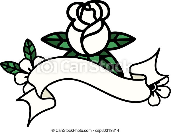 Traditional Tattoo With Banner Of A Single Rose