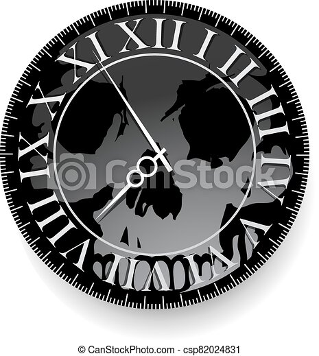 Tattoo with clock and skull - csp82024831