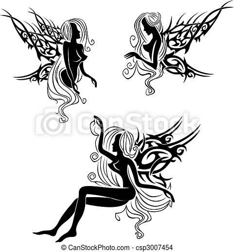 Tattoo with fairies or elves - csp3007454
