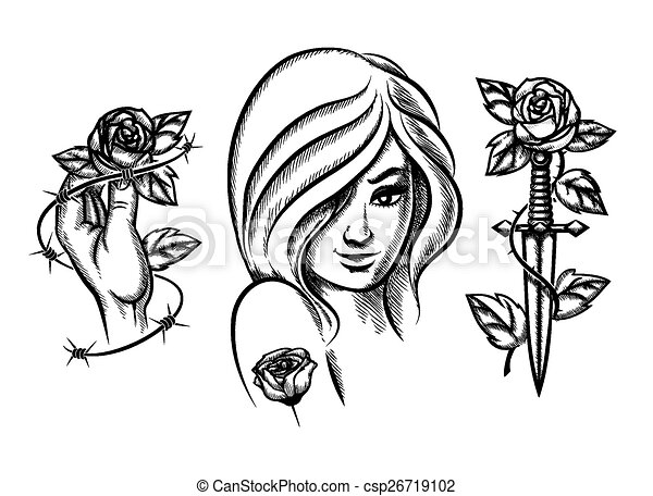 tattoos beauty girl knife rose and barbed wire female