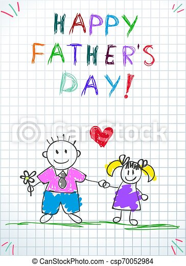 tatuś, córka, ojcowie, powitanie, dzień, karta, szczęśliwy - csp70052984