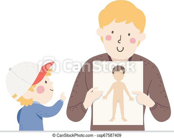 tatuś, chłopiec, ciało, ilustracja, strony, samiec, koźlę - csp67587409