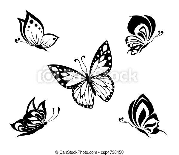 tatuagem, branca, pretas, borboletas - csp4738450