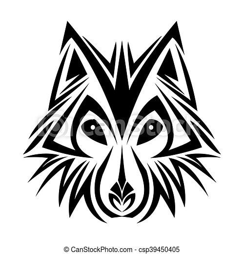 tatuagem, desenho, lobo, animal - csp39450405