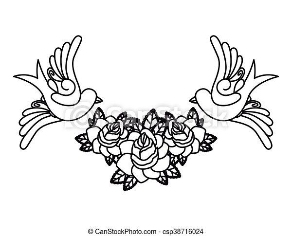 Tatuagem Desenho Pássaros Isolado ícone