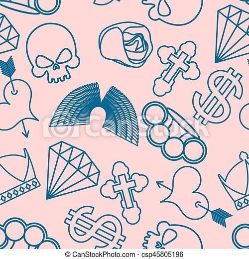 Tatuagem Diamante Cranio Coração Rosa Coroa Seamless Cross Arrow Dollar Knuckles Bronze Pattern Asas