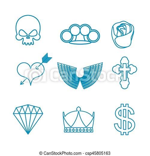 Tatuagem Jogo Linear Cranio Coração Rosa Coroa Asas Cross Arrow Diamante Dollar Knuckles Bronze Style